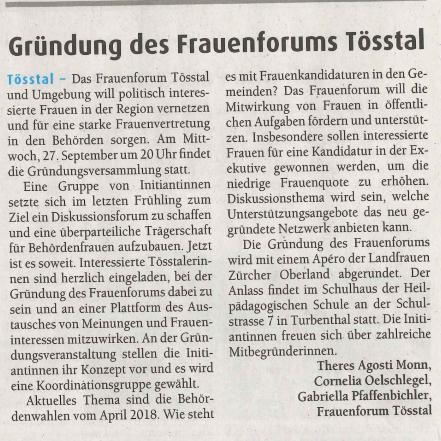 Bericht Der Tössthaler 22. September 2017