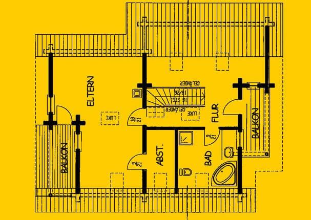 Blockhaus mit Balkon und Terrasse Wohnfläche DG 80 m² - © Blockhaus-Profi