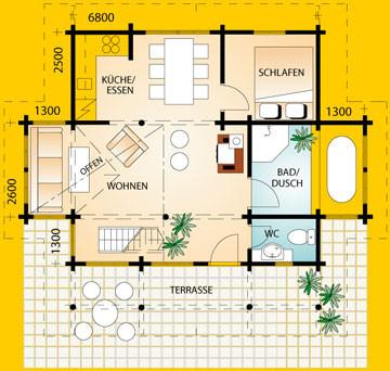 Blockhaus Harz: Wohnfläche EG 43,51 m²