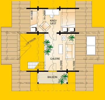 Blockhaus Harz: Wohnfläche DG 28,28 m²