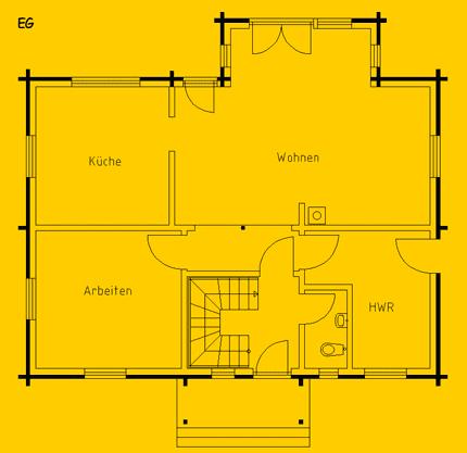 Blockhaus Wernsdorf: Wohnfläche EG 75 m² - © Blockhaus-Profi