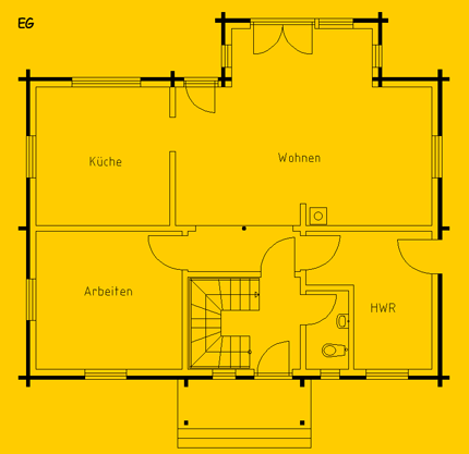 Blockhaus Spreewald: Wohnfläche EG 75 m² - © Blockhaus-Profi