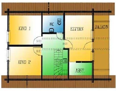 Wohnblockhaus mit Balkon und Terrasse: Wohnfläche DG 41,5 m² - © Blockhaus-Profi