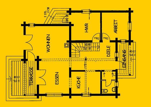 Blockhaus  mit Balkon und Terrasse Wohnfläche EG 95 m² - © Blockhaus-Profi