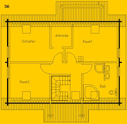 Blockhaus Wernsdorf: Wohnfläche DG 62 m² - © Blockhaus-Profi