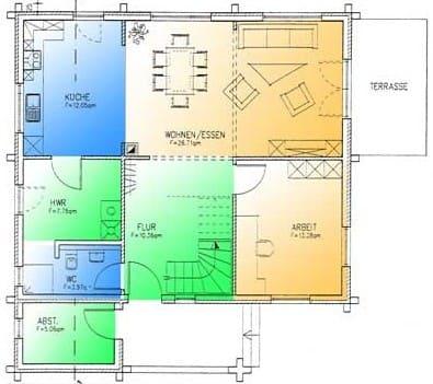 Blockhaus Brandenburg: Wohnfläche EG 79,19 m² - © Blockhaus-Profi