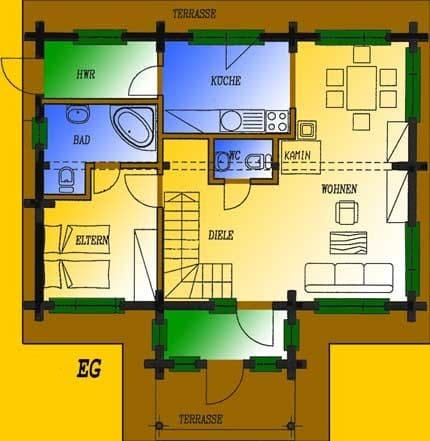 Blockhaus Nennhausen: Wohnfläche EG 62,78 m² - © Blockhaus-Profi