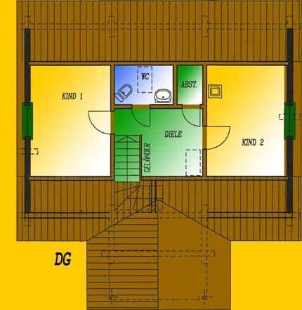 Blockhaus  Havelland: Wohnfläche DG 32,94 m² - © Blockhaus-Profi