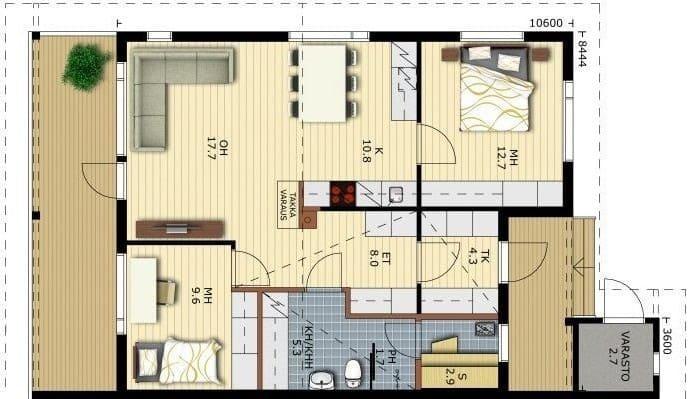 Blockhaus auf einer Ebene - Doppelhaushälfte in Blockbauweise