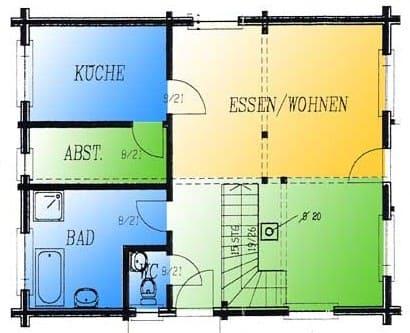 Blockhaus mit Balkon und Terrasse: Wohnfläche EG 62,5 m² - © Blockhaus-Profi