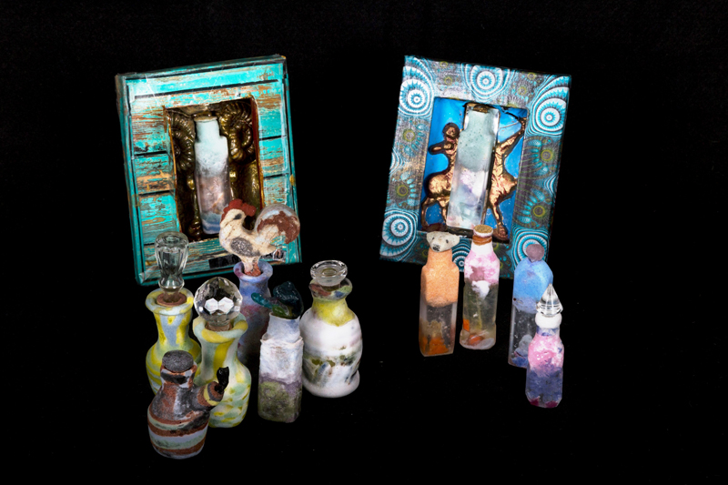 collaboration work with Fulco automatas, packaging mixed media, special scent holding glass bottles foamed up and core casted glass