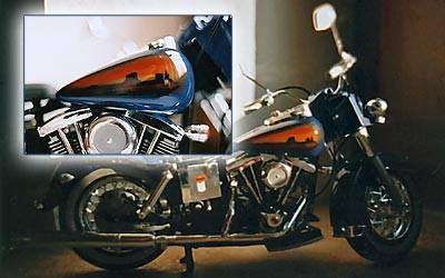 Airbrush auf Motorrad-Modell 1:18