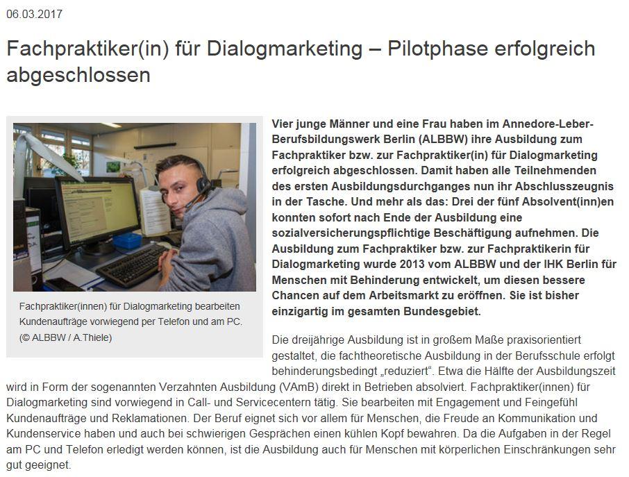 """Erste Ausbildungsgruppe """"Fachpraktiker für Dialogmarketing"""" erfolgreich am Markt platziert. - 2017"""