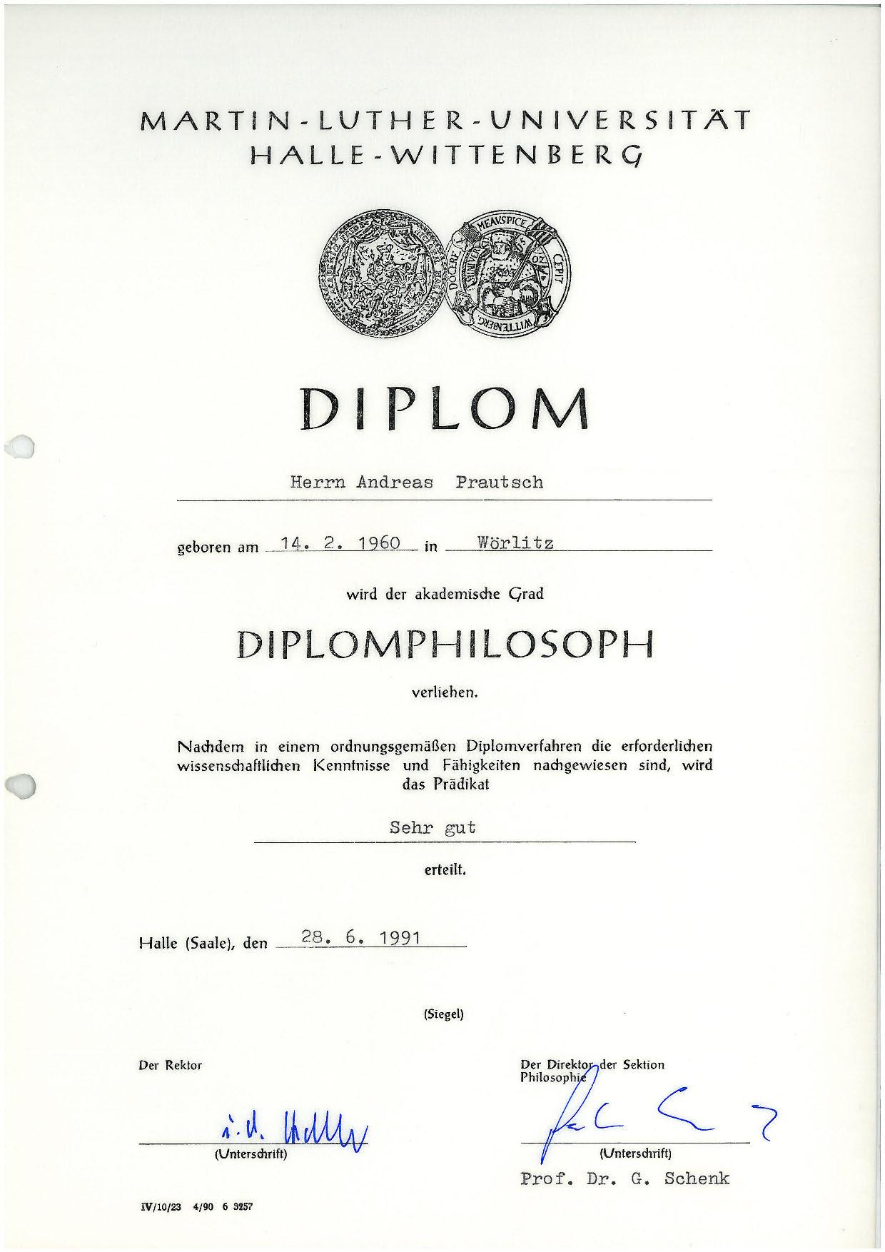 Diplomphilosoph - 1991