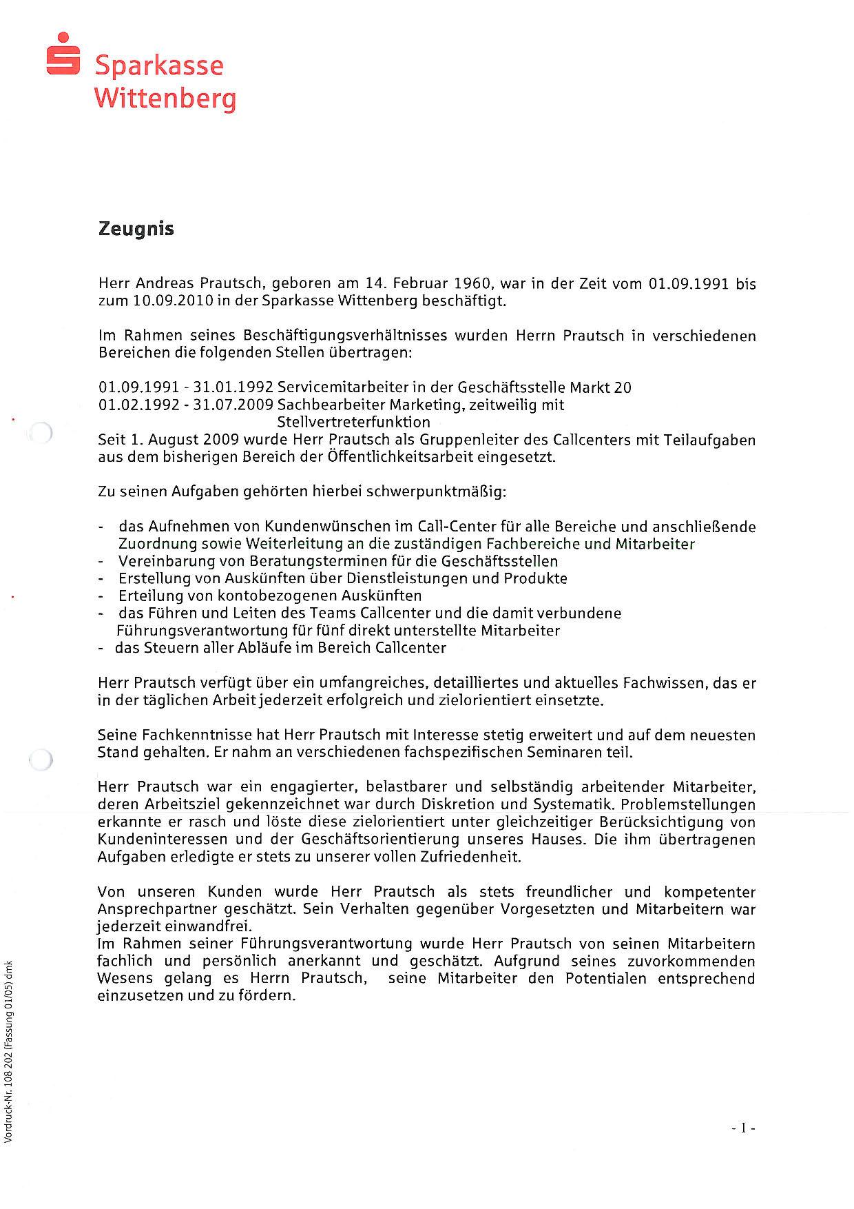 Sparkasse Zeugnis Teil 1 - 2010