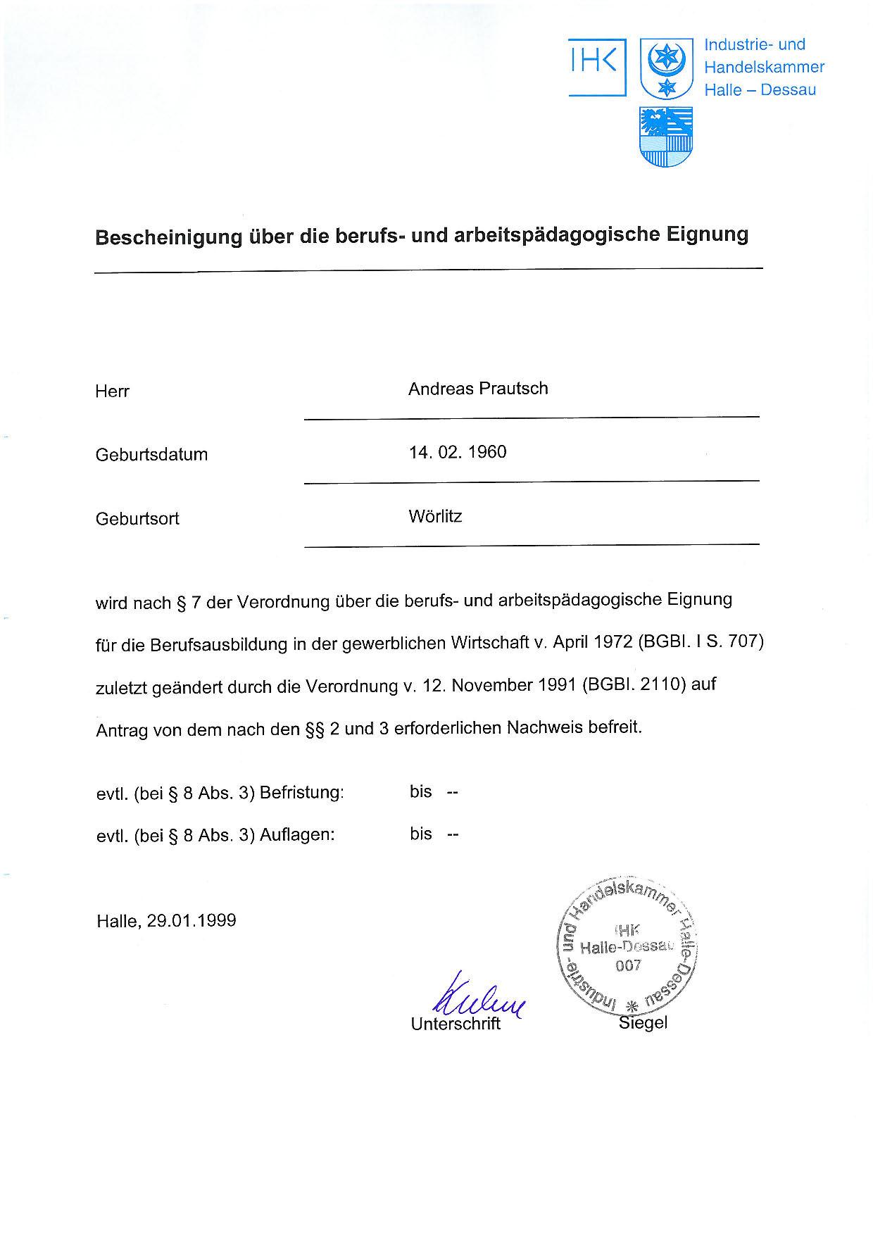Ausbilder laut Ausbildereignungsverordnung (AEVO)