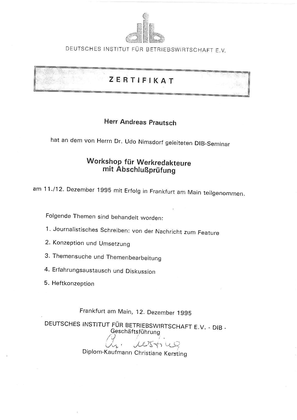 Workshop für Werkredakteure - 1995