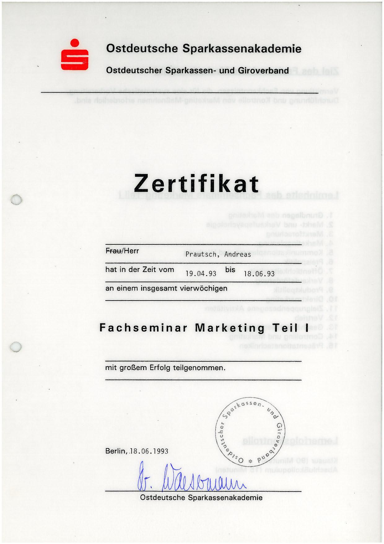 strategisches Fachseminar Marketing - 1993