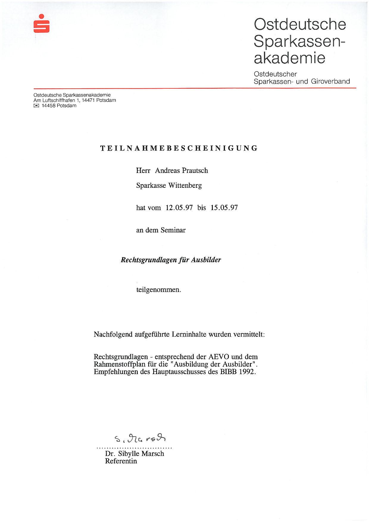 Rechtsgrundlagen für Ausbilder - 1997