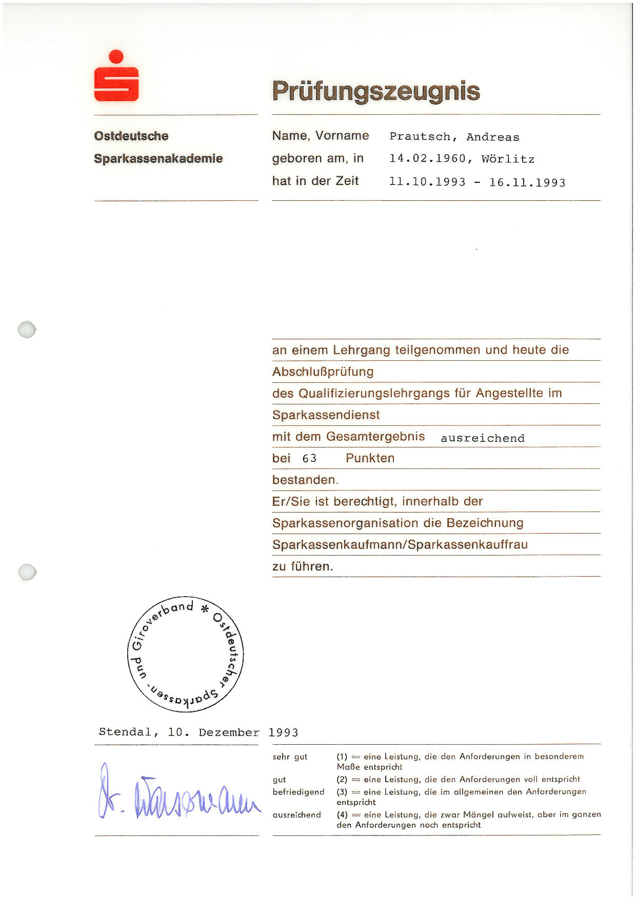 Sparkassenkaufmann - 1993
