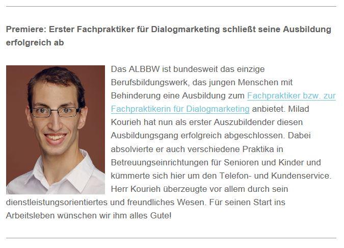 """Milad Kourieh: Mein erster erfolgreicher Absolvent zum """"Fachpraktiker für Dialogmarketing"""" - 2017"""