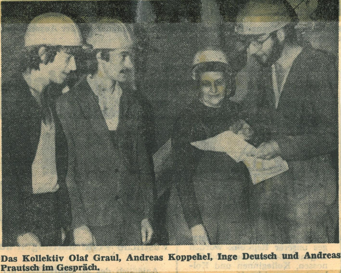 """Zeitung """"Der Kraftwerker"""": Kollegium des KWV, Abteilung  VEA Schicht 1 [Aussenanlagen] - 1982"""