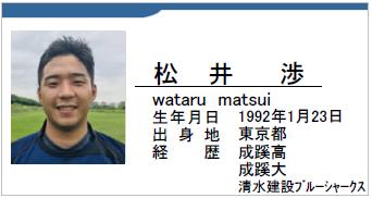 松井渉/wataru matsui/東京都/ラグビー歴/成蹊高/成蹊大/清水建設ブルーシャークス