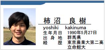 柿沼良樹、群馬県、ラグビー歴:東京農業大二高・立命館大