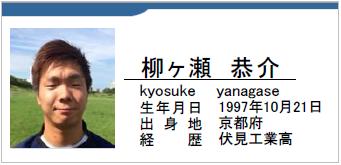 柳ヶ瀬恭介/kyosuke yanagase/京都府/ラグビー歴:伏見工業高校