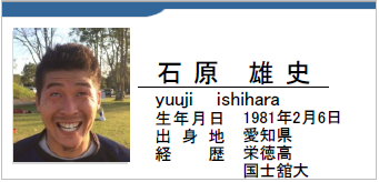石原雄史、愛知県名古屋市、ラグビー歴:栄徳高・国士舘大
