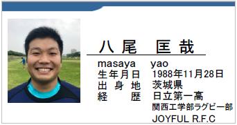 八尾匡哉/masaya yao/茨城県/ラグビー歴:日立第一高校/関西大学工学部ラグビー部