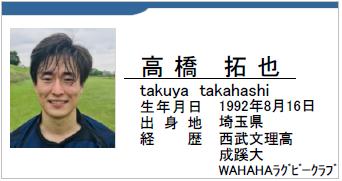 高橋拓也/takuya takahashi/埼玉県/ラグビー歴:西武文理高/成蹊大/WAHAHAラグビークラブ