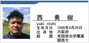 西勇樹/yuki nishi/大阪府/ラグビー歴:常翔啓光学園/関西大学