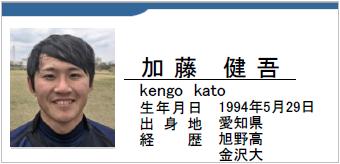 加藤健吾、kengo kato、愛知県名古屋市、ラグビー歴:旭野高、金沢大