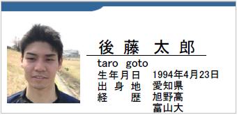 後藤太郎/taro goto/愛知県名古屋市/ラグビー歴:旭野高校/富山大学