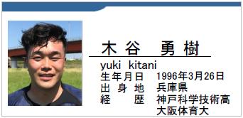 木谷勇樹/yuki kitani/兵庫県/ラグビー歴:神戸科学技術高/大阪体育大