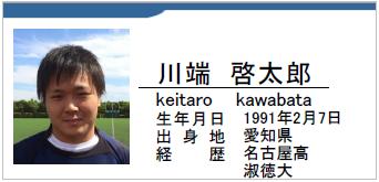 川端啓太郎/keitaro kawabata/愛知県名古屋市/ラグビー歴:名古屋高/淑徳大