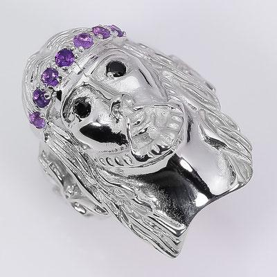 иисус- кольцо из серебра с аметистами