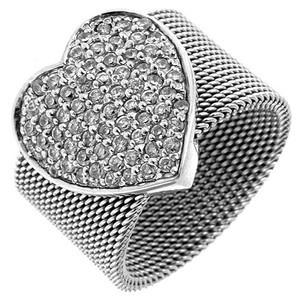 кольцо сердце из серебра 925 пробы