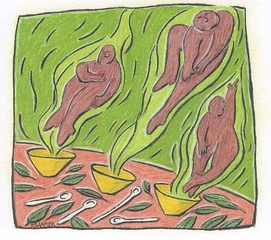 """""""Drei Teegeister"""", Kreide und Farbstift auf Papier, 18 x 20 cm"""