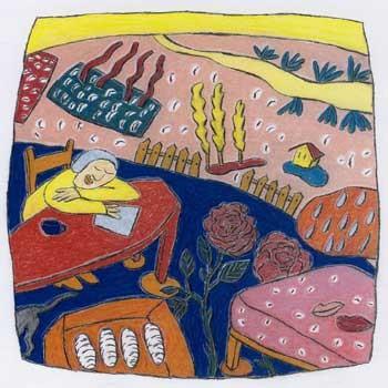 """""""Sonntag"""", 2006, zu ANRUFUNG DES GROSSEN BÄREN von Ingeborg Bachmann,  Kreide und Farbstift auf Papier,      22 x 22 cm"""