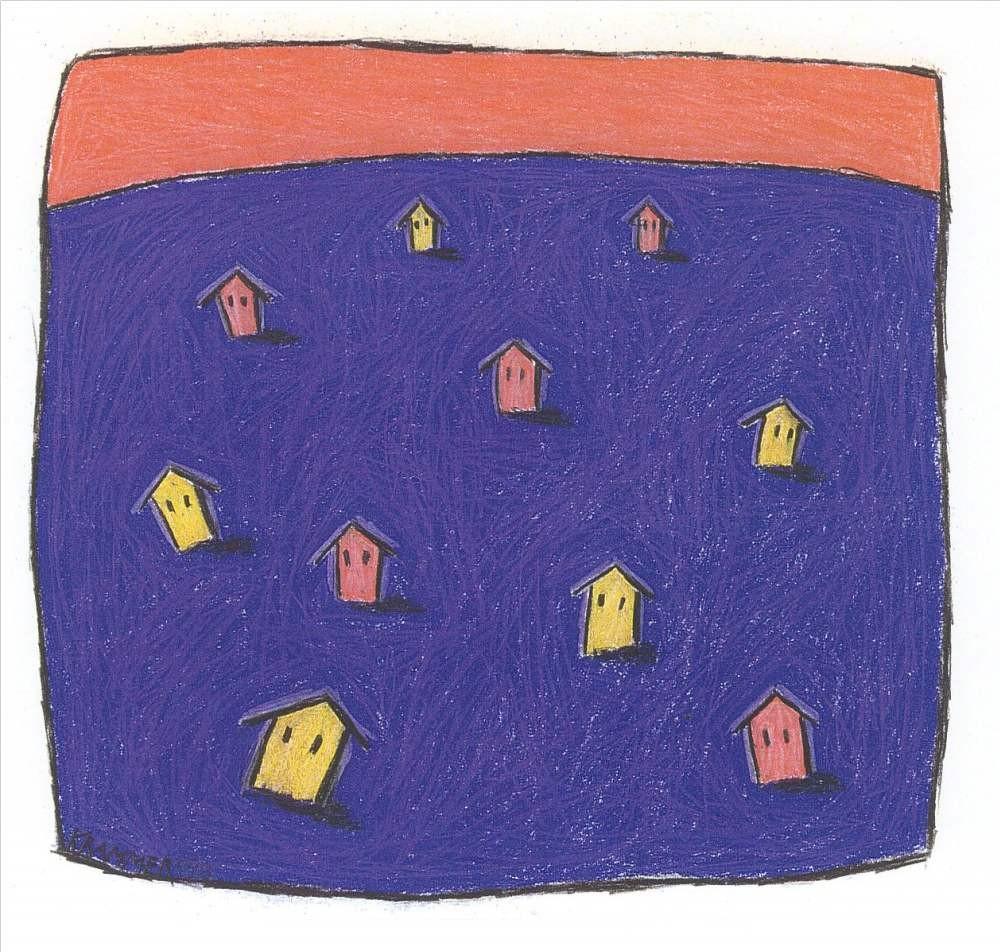 SOME IDENTITIES, (Häuser auf Violett), 1998, Kreide und Farbstift auf Papier, 21 x 23 cm