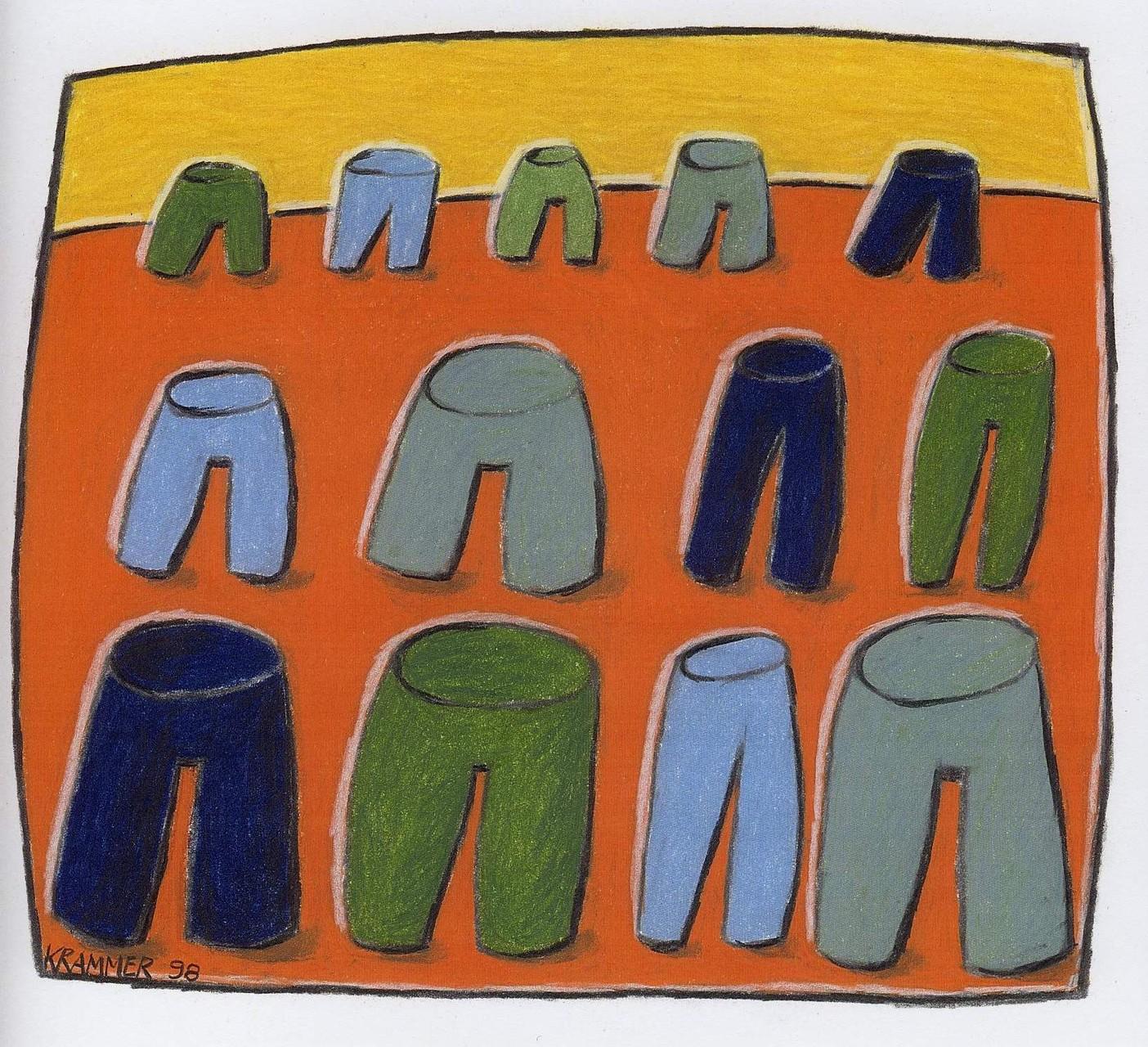 """""""Gute Freunde"""", 1998, Kreide und Farbstift auf Papier, ca. 222 x 24 cm"""