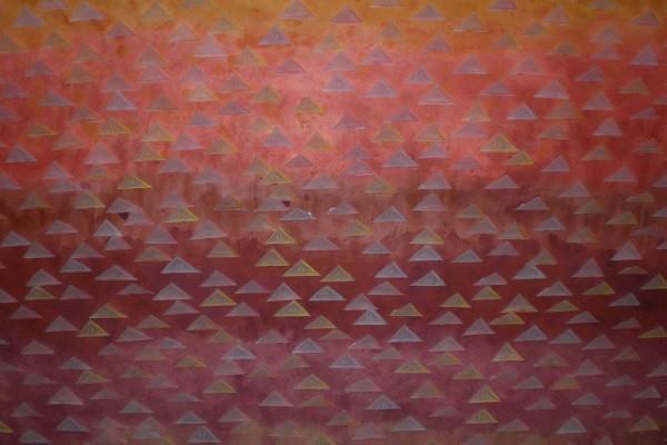 EGYPTIAN LANDSCAPE,  2008, 50 x 64 cm, Farbstift auf Transparentpapier, Tempera auf Japanpapier