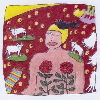 """""""Sommer"""", 2006, zu ANRUFUNG DES GROSSEN BÄREN von Ingeborg Bachmann, Kreide und Farbstift auf Papier, 22 x 22 cm"""