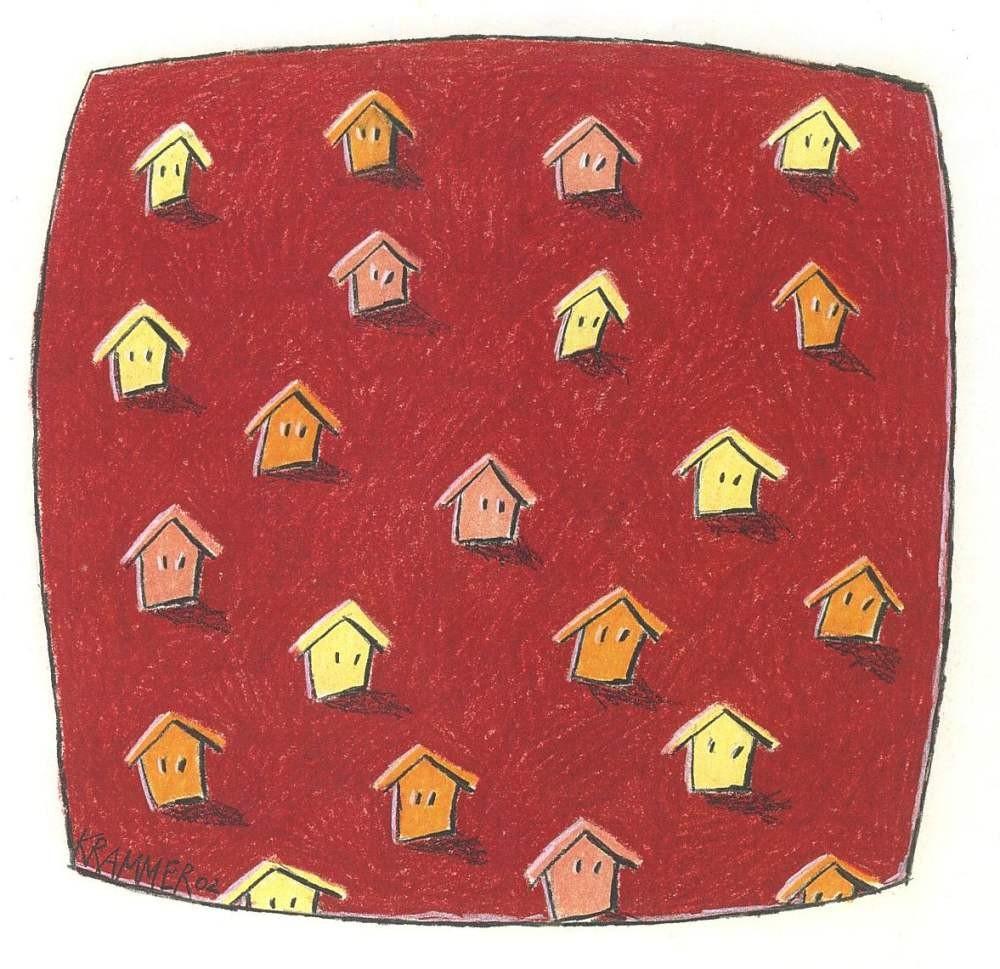 SOME IDENTITIES (Häuser auf Rot), 2002, Kreide und Farbstift auf Papier, 19 x19 cm