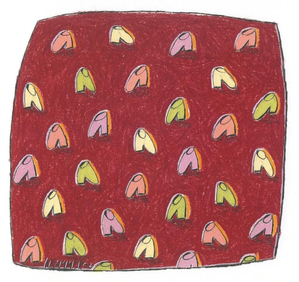 SOME IDENTITIES (Schuhe auf Rot), 2002, Kreide und Farbstift auf Papier, 19 x 20 cm