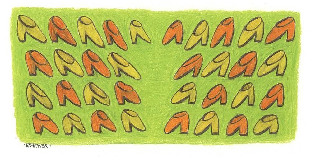 SCHUH-RENDEZVOUZ, Fünf-Farben-Siebdruck, Auflage: 50 Stück, 50 x 60 cm (Motiv: 18 x 37 cm), Druckwerkstätte Andreas Stalzer, Wien