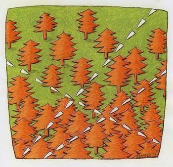 """""""Zehn Uhr"""", 2007,  Kreide und Farbstift auf Papier, 25 x 23 cm"""