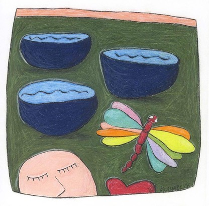 """""""Im Land der tiefen Seen und der Libellen"""", zu ANRUFUNG DES GROSSEN BÄREN von Ingeborg Bachmann, 2006, Kreide und Farbstift auf Papier, 24 x 24 cm"""